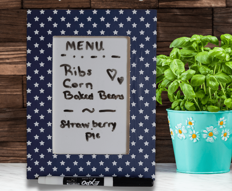 Photo of frame being used a menu dry-erase board